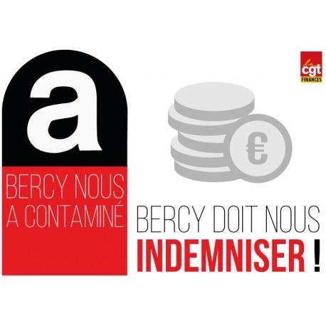 """Autocollant """"Bercy nous a contaminé : Bercy doit nous indemniser"""""""